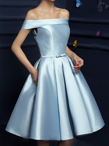 A Line Off Shoulder Light Blue Prom Dresses, Short Blue Graduation Dresses, Homecoming Dresses