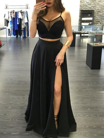 Custom Made A Line Round Neck 2 Pieces Black Prom Dresses, 2 Pieces Formal Dresses