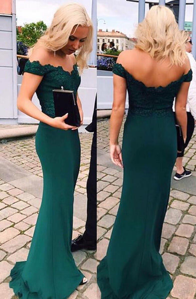 A Line Off Shoulder Emerald Green Lace Mermaid Prom Dress, Green Lace Bridesmaid Dress, Graduation Dresses, Formal Dresses