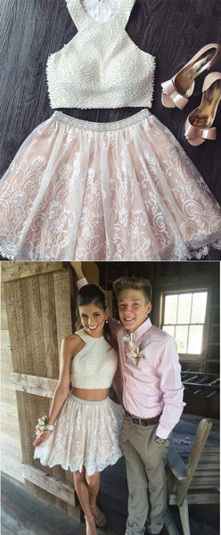 A Line 2 Pieces Short Lace Prom Dresses, 2 Pieces Lace Homecoming Dresses, Formal Dresses