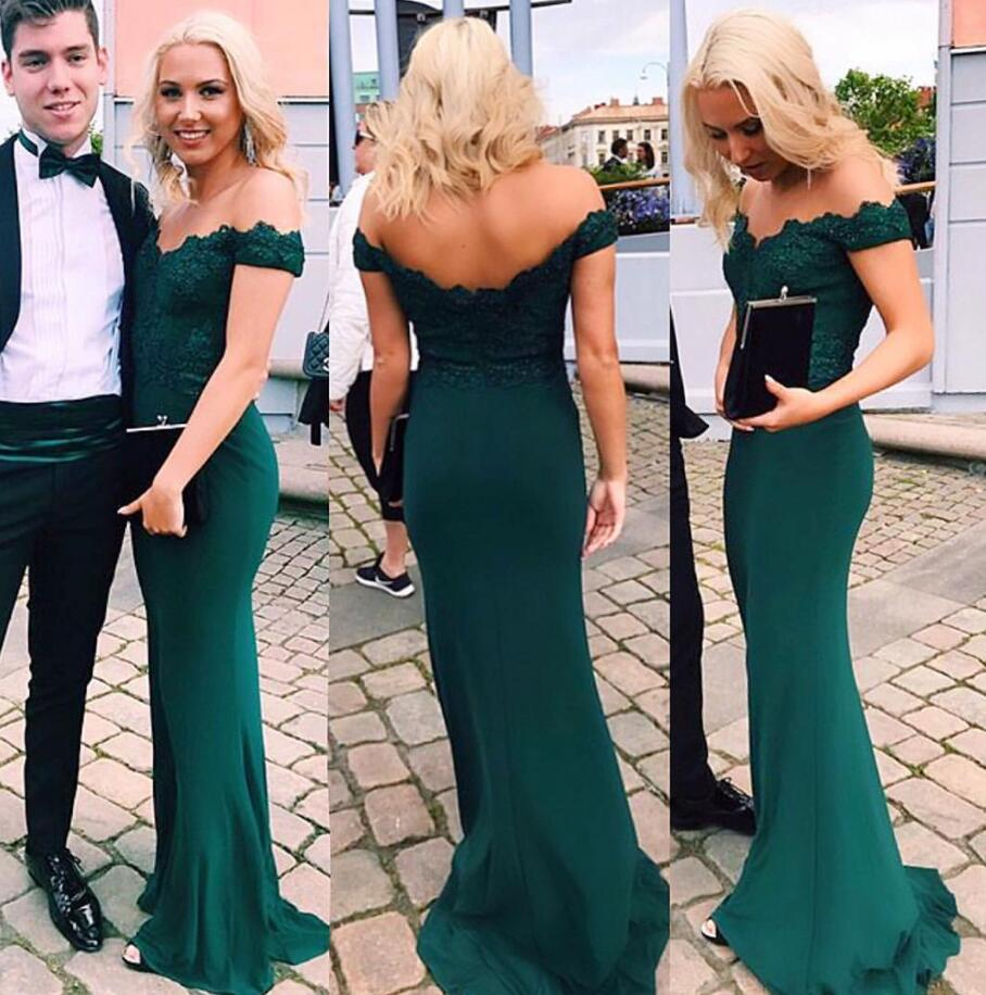 A Line Off Shoulder Emerald Green Lace Mermaid Prom Dress Green