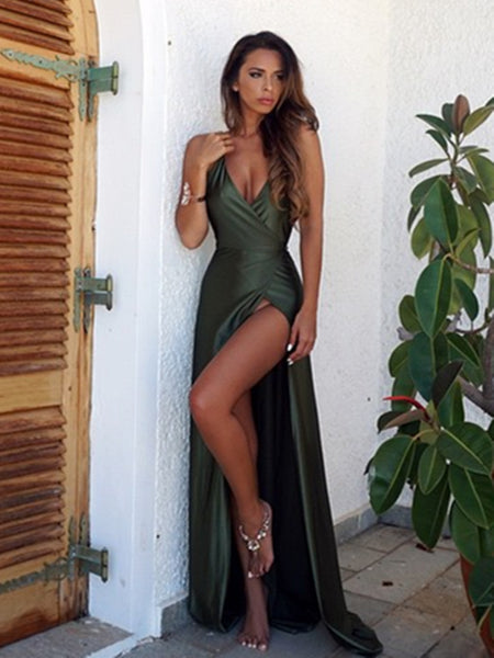 A Line Backless Dark Green Prom Dresses, Backless Green Formal Dresses, Backless Green Graduation Dresses