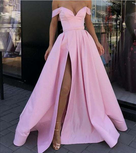 Off Shoulder Pink High Slit Prom Dresses, Off Shoulder Formal Dresses, Graduation Dresses