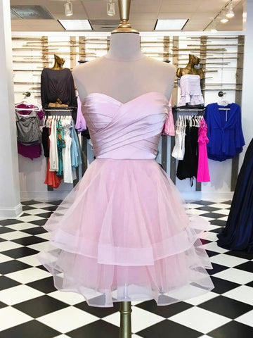 Custom Made Sweetheart Neck Short Pink Prom Dresses, Short Pink Homecoming Dresses, Formal Dresses