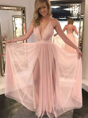 A Line V Neck Pink Backless Prom Dresses, Pink V Neck Backless Formal Dresses, Evening Dresses, Graduation Dresses