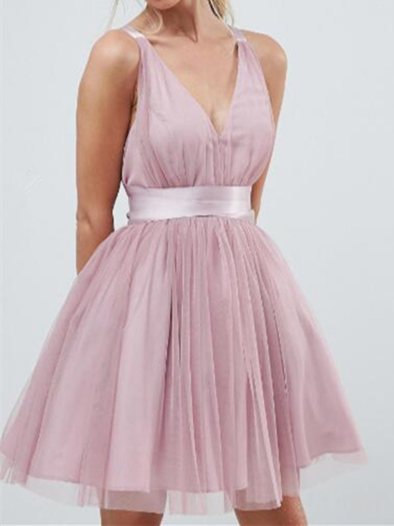 A Line V Neck Short Tulle Prom Dresses, Short Homecoming Dresses, Graduation Dresses Formal Dresses