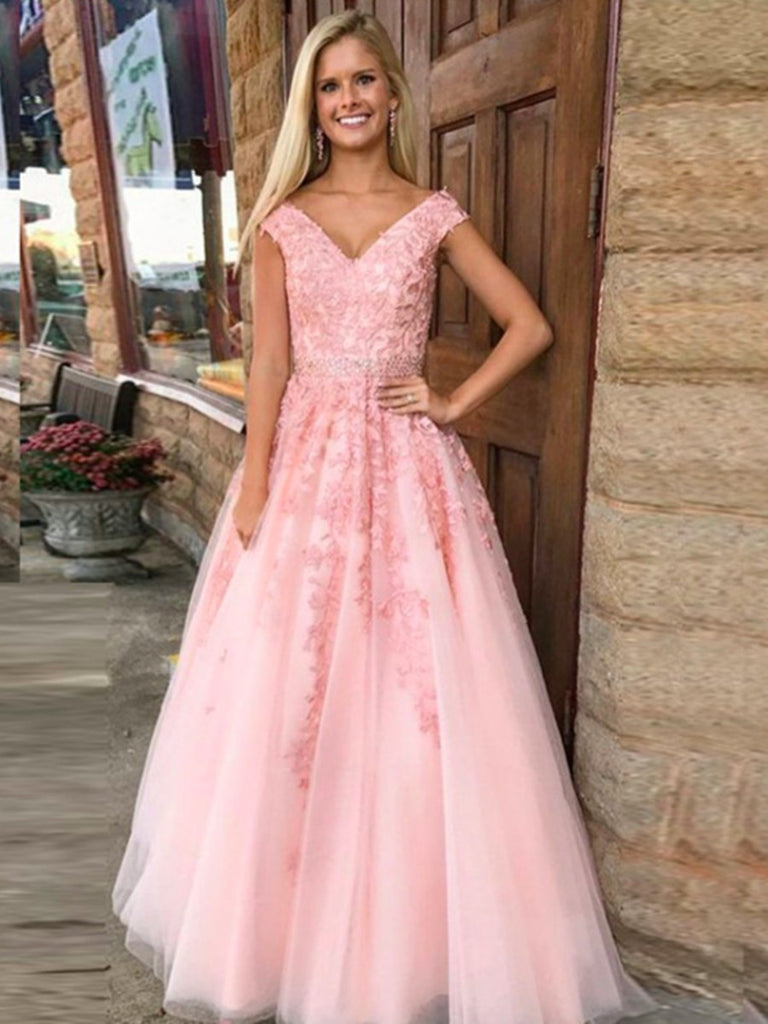 A Line V Neck Pink Lace Prom Dress Pink Lace Formal Dress