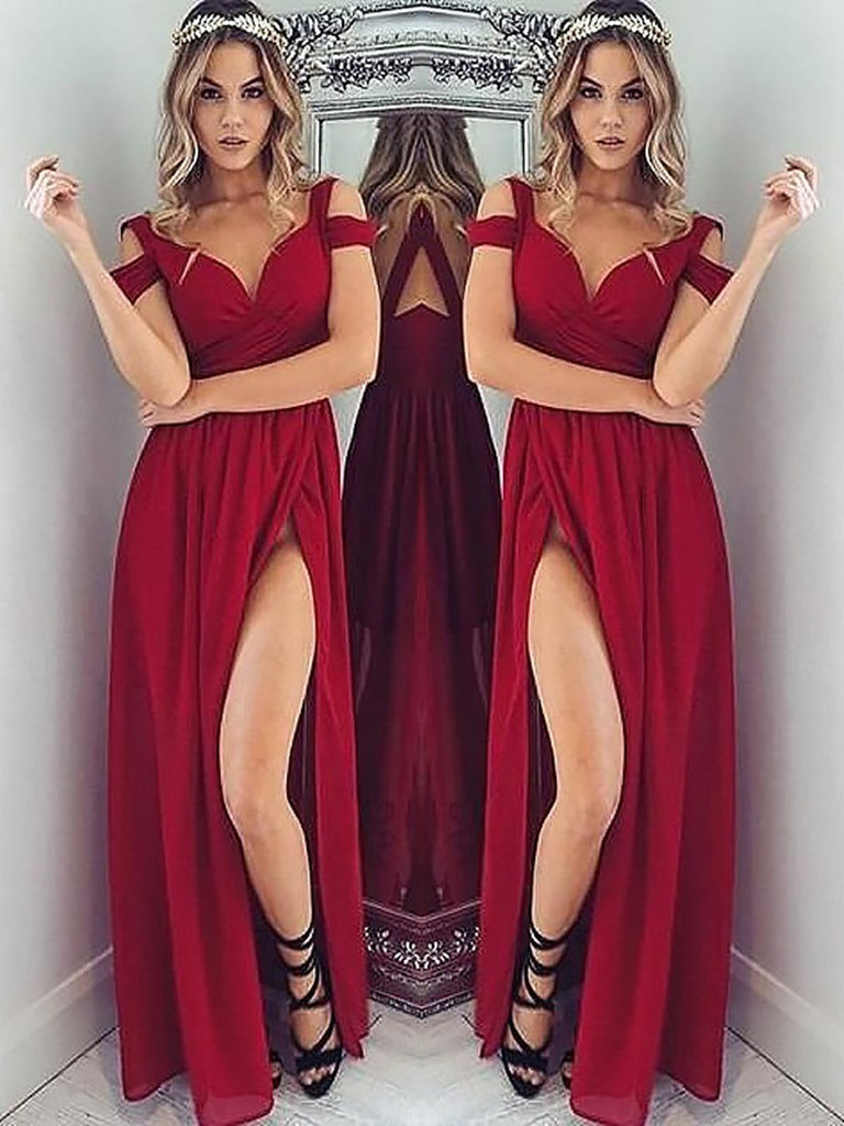 3cfdd173ef13 A Line Off Shoulder Burgundy Prom Dresses