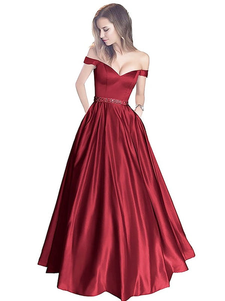 A Line Off Shoulder Burgundy Prom Dresses, Off Shoulder Burgundy Formal Dresses, Evening Dress, Bridesmaid Dresses