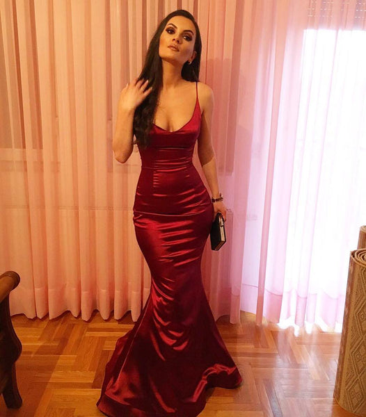 Spaghetti Straps Burgundy Mermaid Prom Dress, Burgundy Mermaid Prom Dress Graduation Dress, Formal Dresses