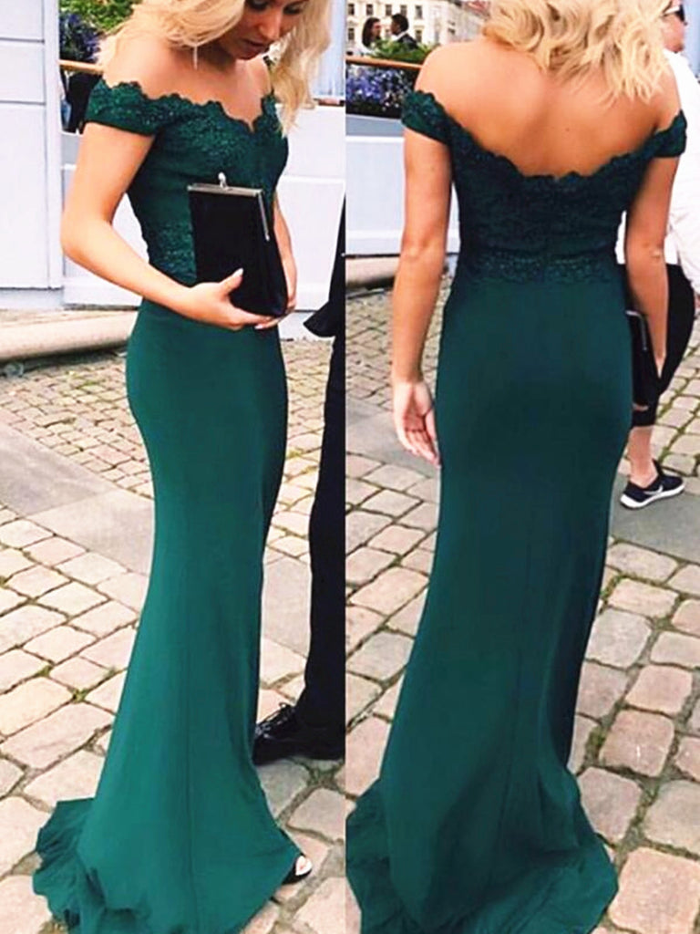 65a6accaaea A Line Off Shoulder Emerald Green Lace Mermaid Prom Dress