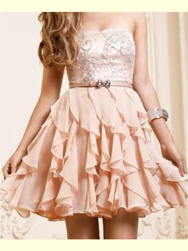 A-Line Scoop Neckline Short Pearl Pink Mini Prom/Homecoming Dress, Graduation Dress