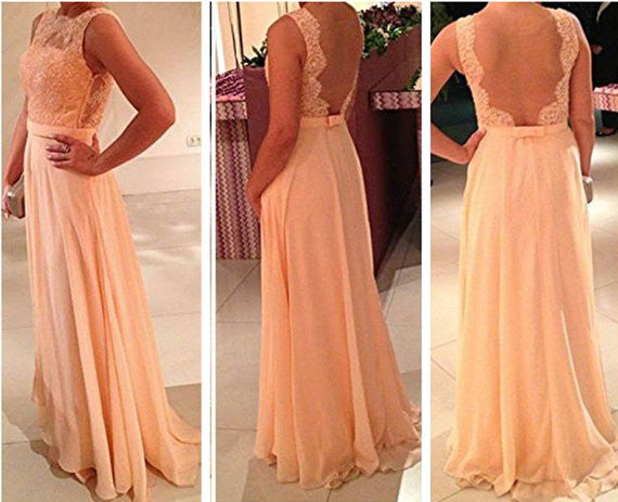 Custom Made A Line Long Lace Prom Dresses, Lace Bridesmaid Dresses, Long Lace Formal Dresses Details