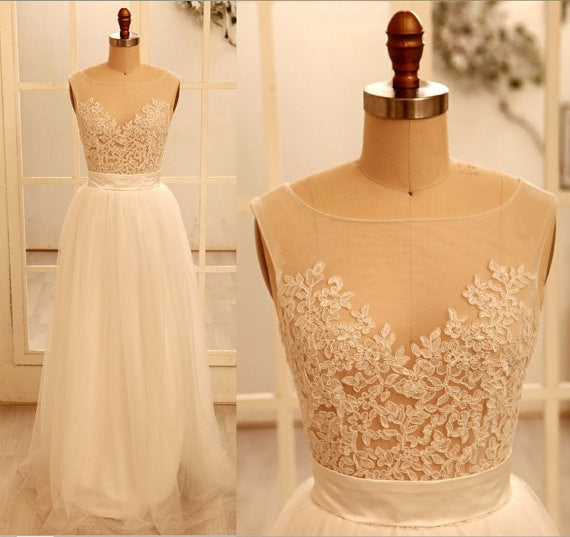 Custom Made A Line Round Necklace Lace Wedding Dresses, Deep V Neck Back Dress, Ivory Dresses For Wedding