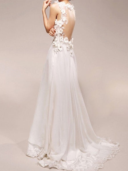 Custom Made A Line V Neck Court Train Long Wedding Dress, Long Lace Prom Dress, Formal Dress