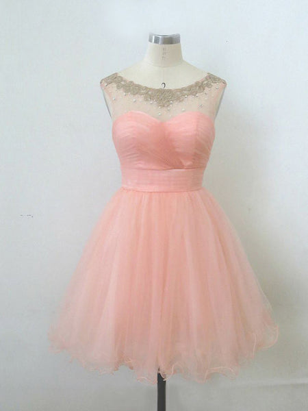 Ball Gown Round Neckline Pink Mini Homecoming Dress, Short Pink Prom Dress, Short Pink Formal Dress