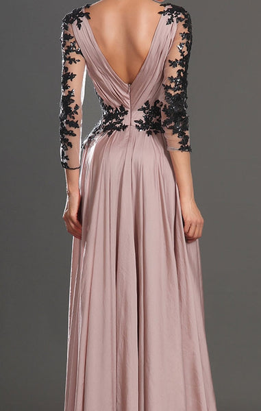 Custom Made Dusty Pink Deep V Neck Prom Dresses, Formal Dresses, Party Dresses Back Details