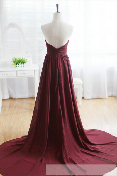 Custom Made A Line Sweetheart Neck Maroon Sweep Train Prom Dresses, Formal Dresses Back Details