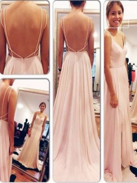 A Line Sweetheart Neck Pink Backless Prom Dress, Pink Backless Formal Dress, Bridesmaid Dress
