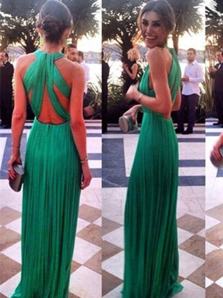 A Line Long Green Prom Dresses, Long Green Formal/Bridesmaid Dresses