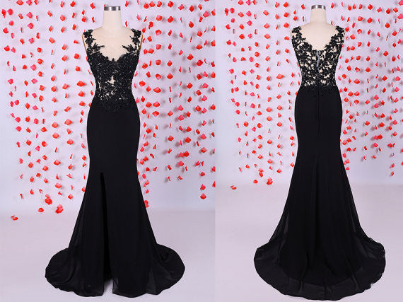 Custom Made Black Mermaid Lace Prom Dresses, Black Lace Evening Dresses