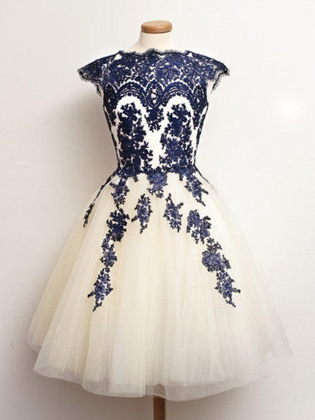 Round Neck Short White And Blue Lace Prom Dresses, Short Lace Homecoming/Graduation Dress
