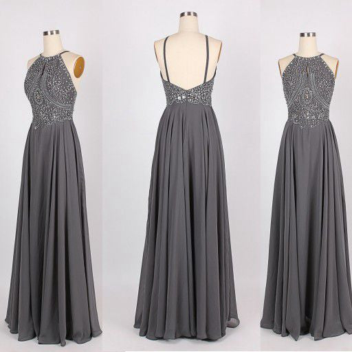Custom Made A Line Grey/Gray Backless Chiffon Prom Dresses, Backless Bridesmaid Dresses, Wedding Party Dresses, Backless Evening Dresses