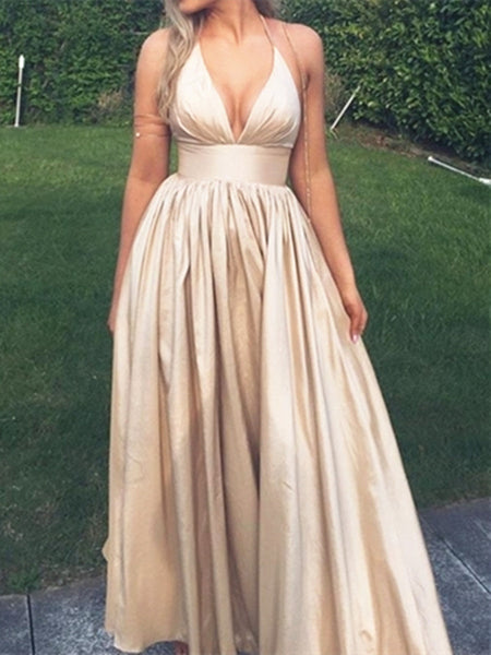 Custom Made Champagne V Neck Long Prom Dress, V Neck Champagne Formal Dress