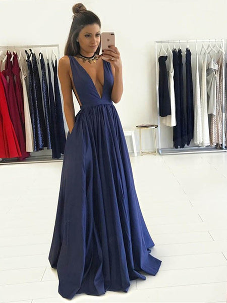 Custom Made A Line V Neck Deep Blue Sleeveless Long Prom Dresses, Deep Blue V Neck Formal Dresses