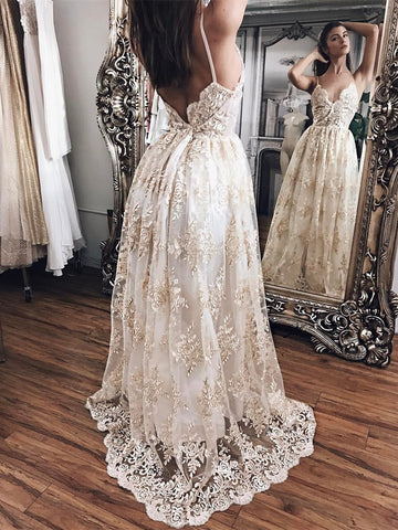 A Line V Neck Backless Wedding Dress with Champagne Appliques, Backless Prom Dresses, Graduation Dress, Formal Dresses