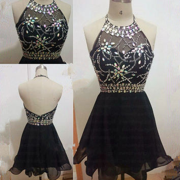 Custom Made A Line Halter Neck Backless Short Black Prom Dress, Black Homecoming Dress, Black Graduation Dress