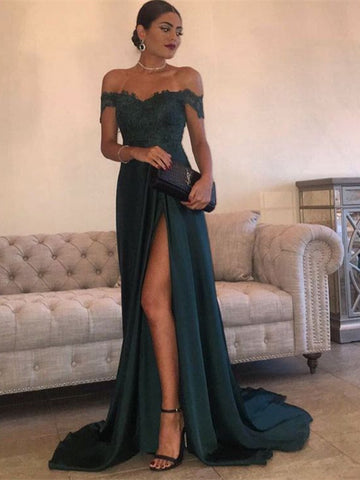 Sexy Dark Green A Line Off Shoulder Lace Prom Dress With Train