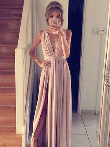 Simple A Line V Neck Champagne Prom Dress with Slit, Champagne Formal Dress, Bridesmaid Dress