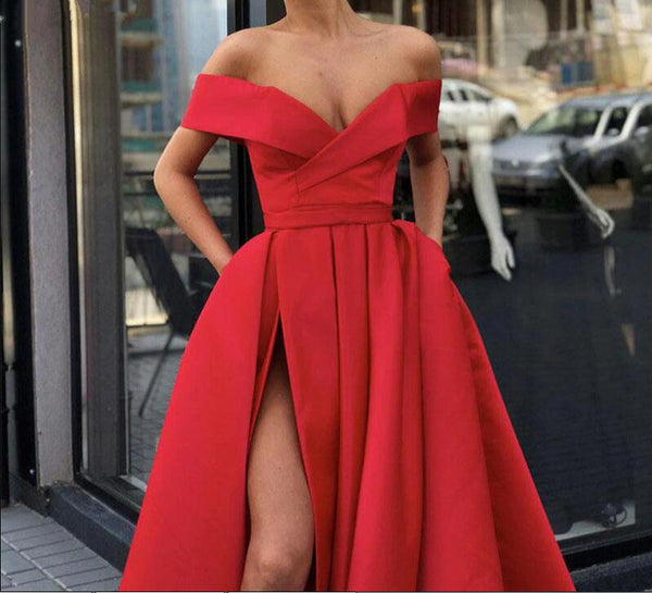 Off Shoulder Red/ Blue High Slit Prom Dresses, Off Shoulder Formal Dresses, Graduation Dresses