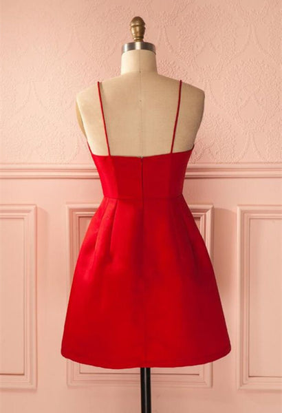 A Line Short Red Prom Dresses, Short Red Satin Homecoming Graduation Dresses, Red Formal Dresses