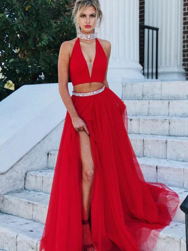A Line V Neck Red 2 Pieces Prom Dresses, 2 Pieces Red Formal Dresses, Graduation Dresses