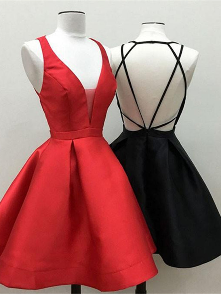 A Line Short Red/Black Prom Dress, Short Red/Black Graduation Dress, Homecoming Dresses