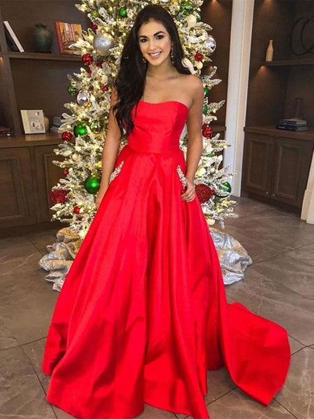 Custom Made Red Satin Prom Dress with Pockets, Red Formal Dresses, Evening Dresses