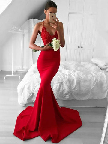 Halter Neck Red Mermaid Prom Dress with Train, Red Mermaid Formal Dress