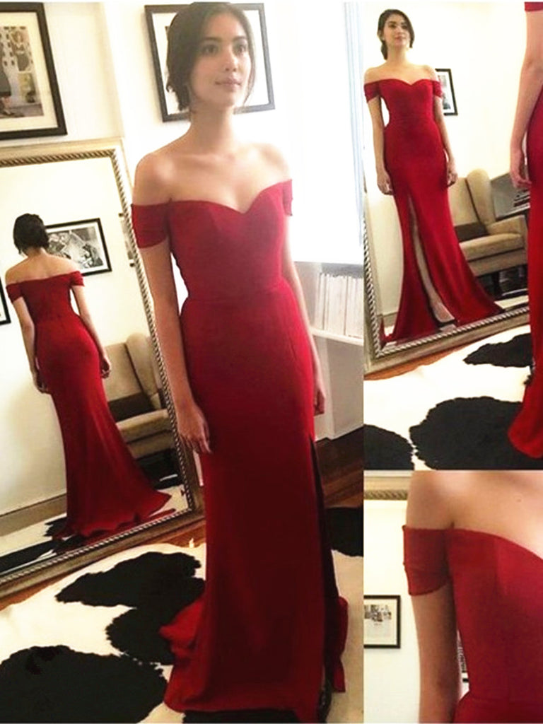 Red Off Shoulder Mermaid Prom Dresses, Red Mermaid Graduation Dresses, Evening Dresses, Red Formal Dresses