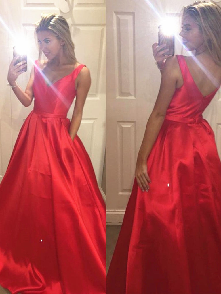 Custom Made A Line V Neck Red Prom Dress, Red Formal Dress, Red Evening Dress