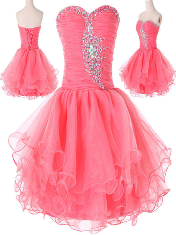 Custom Made Sweetheart Neck Short Pink Prom Dresses, Short Pink Homecoming Dresses,  Pink Formal Dresses