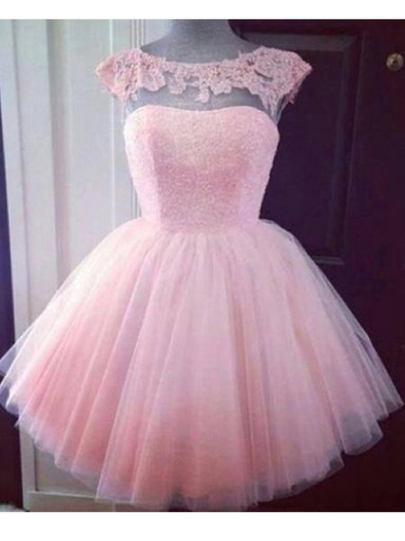 Round Neck Pink Short Lace Prom Dress, Pink Lace Homecoming/Graduation Dress