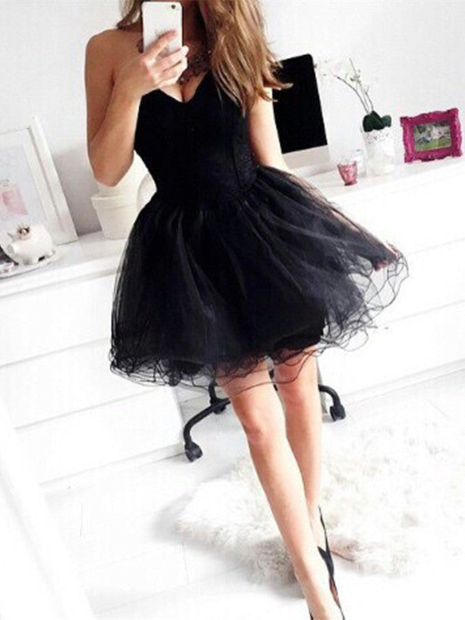 Black Short Prom Dresses, Short Black Homecoming Dresses, Short Black Graduation Dresses