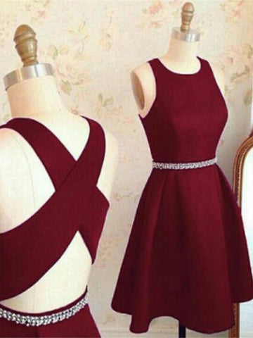 A Line Round Neck Short Burgundy Prom Dress with Cross Back, Short Burgundy Graduation Dress, Homecoming Dresses