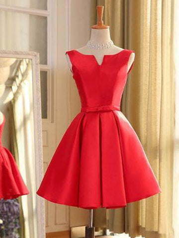 Short A Line Red Mini Prom Dresses, Short Red Homecoming Dresses, Formal Dresses