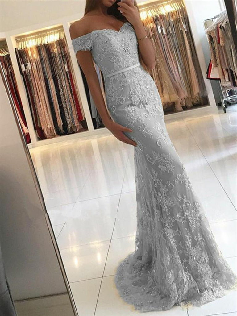 Elegant Off Shoulder Mermaid Lace Prom Dress, Lace Mermaid Formal Dress, Silver Evening Dress, Lace Bridesmaid Dress