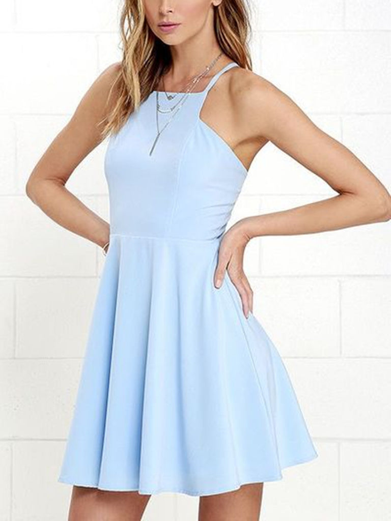 A Line Open Back Short Sky Blue Prom Dresses fd80c3994