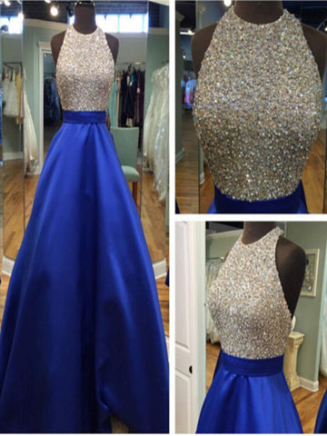 Custom Made Royal Blue Round Neck Sleeveless Prom Dresses, Blue Formal Dresses