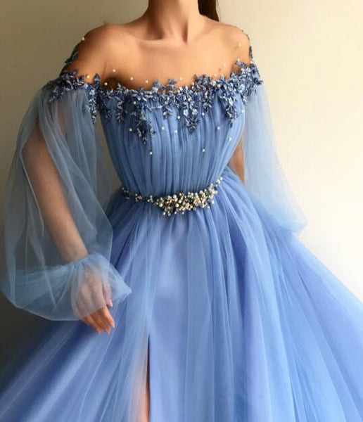 Custom Made Round Neck Baby Blue Tulle Long Sleeves Prom Dresses, Blue Long Sleeves Formal Dresses